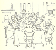 A happy memory of Trinity College: undergraduates breakfast together in Downy V. Green, p. 77.