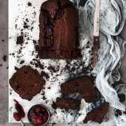 Schokoladenkuchen sind ja nicht soooo das Back-Highlight. Aber diese hat eine geheime Zutat: rote Grütze! Das macht den Kuchen schokoladig-fruchtig und so unglaublich saftig. Wenn ich euch für heute was wünschen darf, dann ist es ein gut temperiertes Büro, ein Eis in der Mittagspause und ein Stück von diesem Schokoladenkuchen.