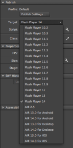 Target Flash Player 10.2 in Flash Professional CC 2014