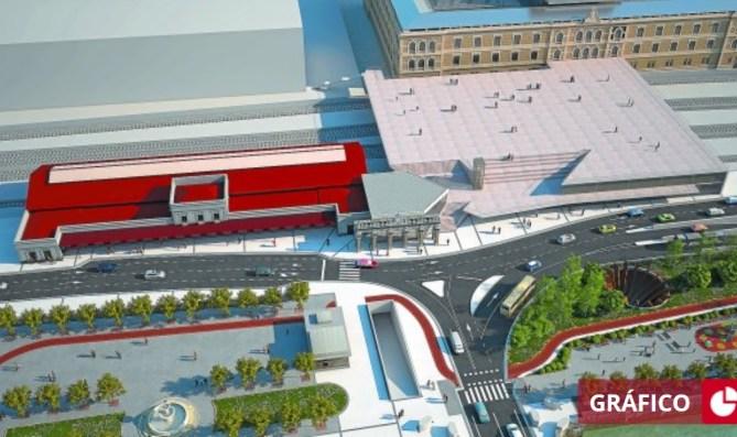 Fotomontaje de la futura estación del TAV que incluye los elementos arquitectónicos singulares de la actual terminal. / ETS