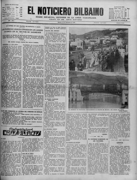 La noticia de la apertura al tráfico del puente de Deusto, en El Noticiero Bilbaíno del martes 15 de diciembre de 1936 (Foto gentileza de Jesús Moreno)