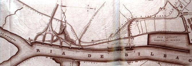 San Nikolaseko ditxoan, Kadagua eta Galindo ibaien anean kokatutako nasa eta kargategien planoa. Ezkerrean Cía. Orconerak Lutxanan zituen emakidak ageri dira (1875).