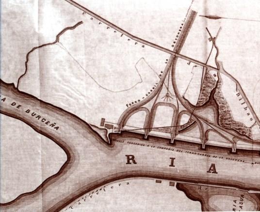 Plano de los muelles y cargaderos de la Ría de Bilbao con las concesiones de la Cía. Orconera en Luchana (1875).