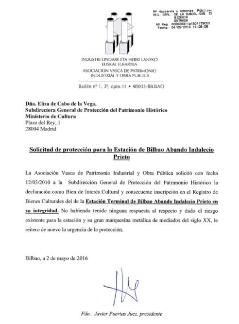 Copia sellada de la entrada del documento de solicitud de protección dirigida al Ministerio de Cultura.