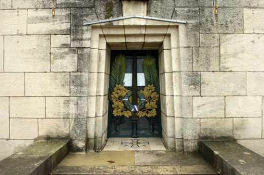 Entrance to Crypt of the Golden Book of the Soldiers of Verdun, Memorial of Verdun, France.