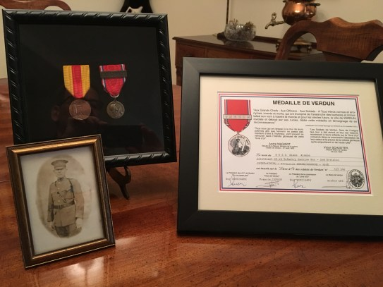 Medals of Verdun and Saint-Mihiel, Certificate of Medal of Verdun, and photo of Captain Glenn A. Ross, 23rd Infantry, Second Division.