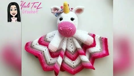 Manta de apego unicornio amigurumi