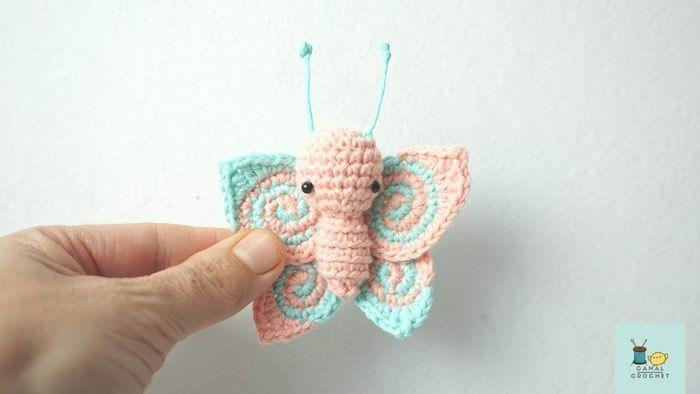 Mariposa amigurumi con patrón gratis