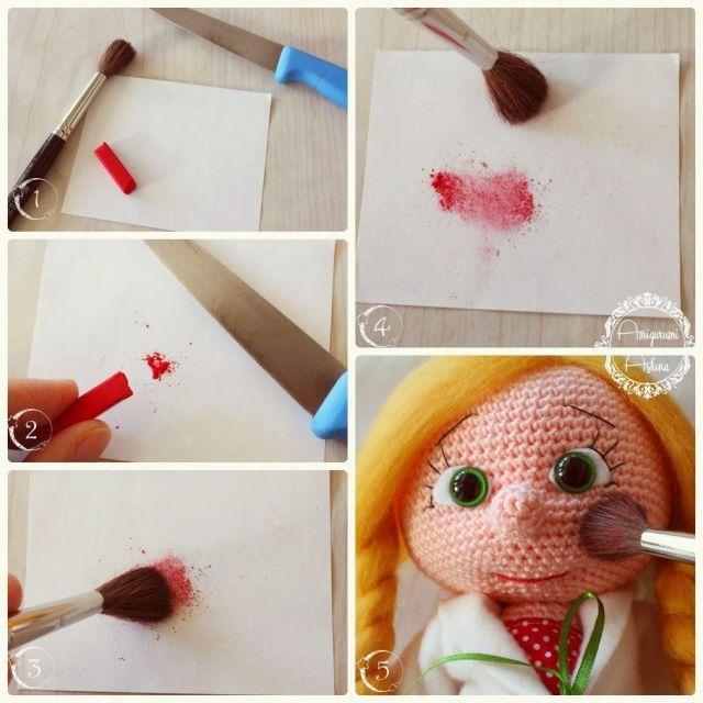 maquillaje muñeca amigurumi