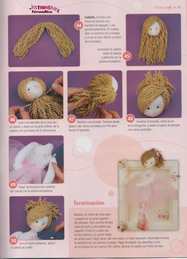 muñeca bailarina soft. Sigue paso a paso el tutorial para hacer el pelo de lana a la muñeca bailarina..