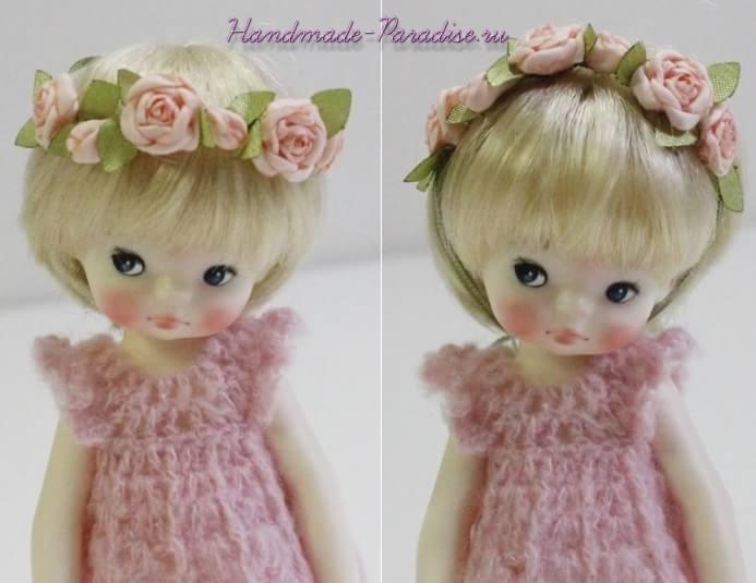 diadema de rosas para muñecas