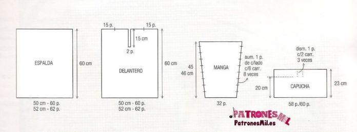 medidas para el patrón del jersey blanco con capucha, talla 42 y 44