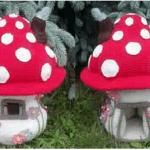 Hongo casa de búhos en amigurumi
