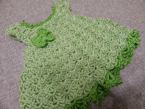 Vestido color Pistacho para Bebe niña en Crochet