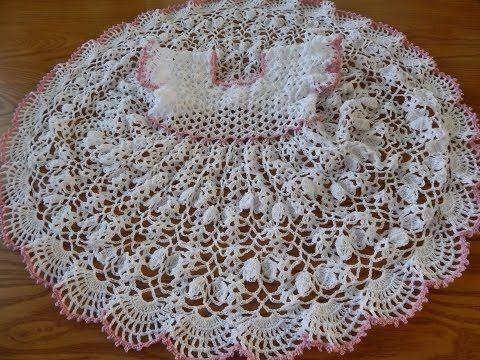 Vestido de Abanicos en crochet para niña - Patrones gratis