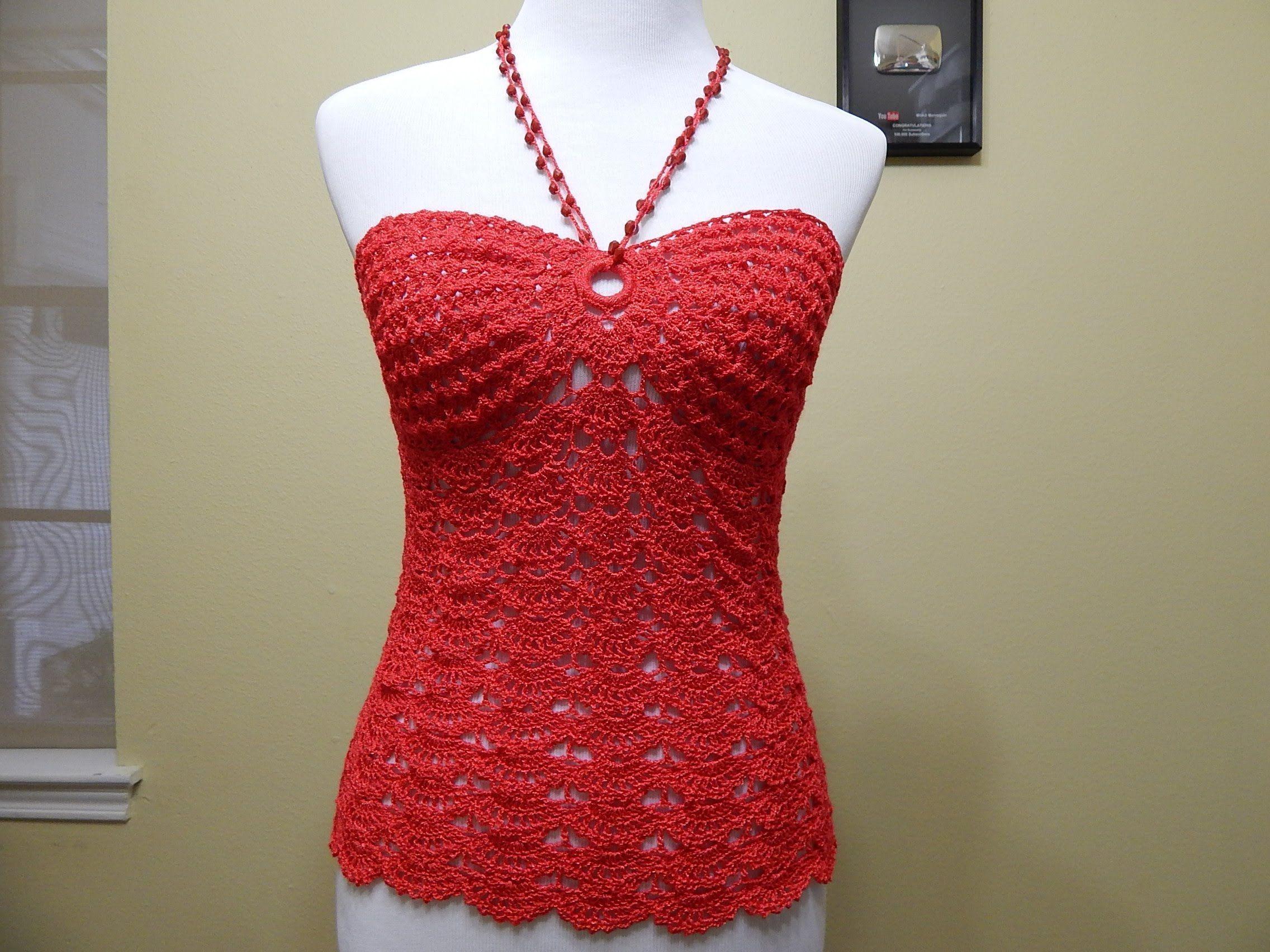 Blusa coral a crochet - Patrones gratis