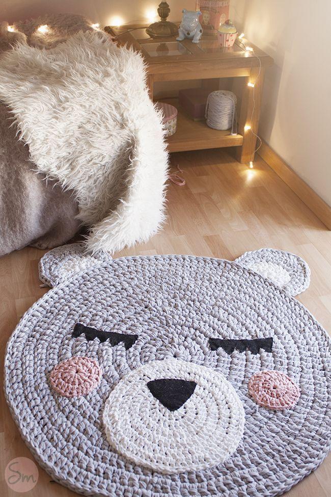 Alfombra con cara de oso tejida a trapillo patrones gratis - Alfombra para habitacion ...