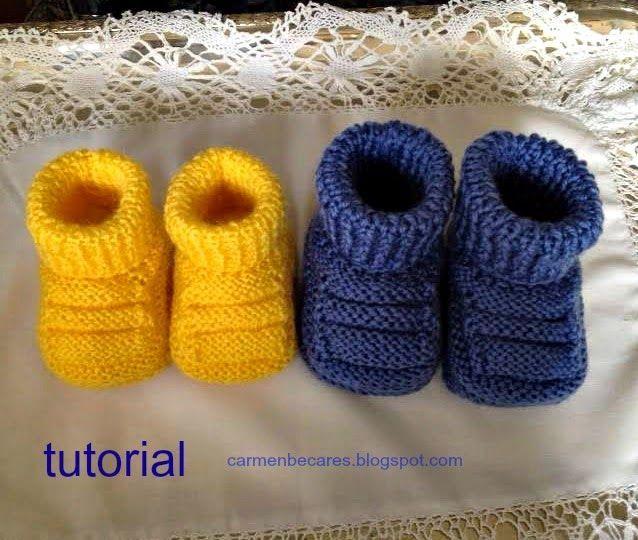 fb8165577 Patucos de bebé en dos agujas - Patrones gratis