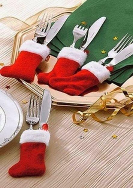 calcetin para cubiertos en navidad