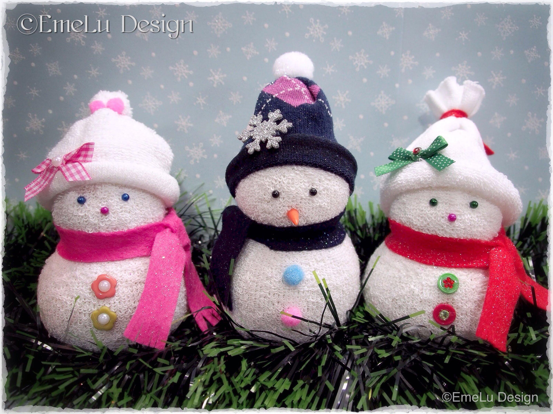 Mu eco de nieve con calcetines patrones gratis - Manualidades munecos de navidad ...