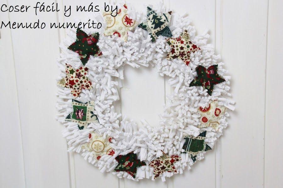 Corona de trapillo para Navidad - Patrones gratis