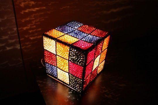 lampara cubo crochet