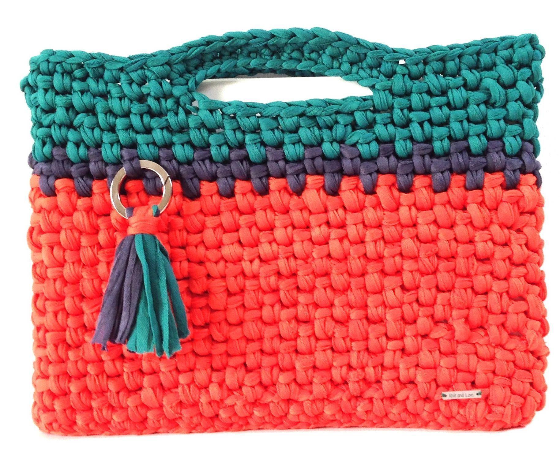 Bolsa para ordenador crochet con trapillo - Patrones gratis