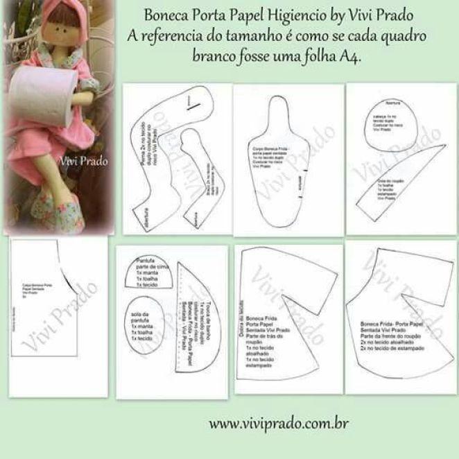 Patrón de muñeca porta-rollos de papel - Patrones gratis