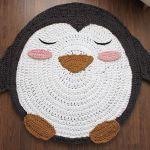 Como hacer una alfombra en trapillo de Pingüino