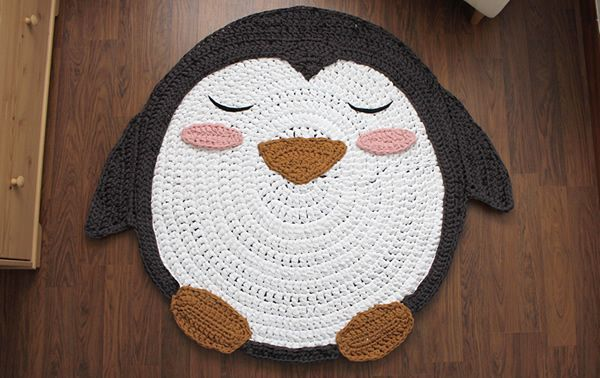 Como hacer una alfombra en trapillo de Pingüino - Patrones gratis
