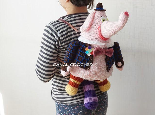 Patrón y tutorial para hacer una mochila infantil elefante ...