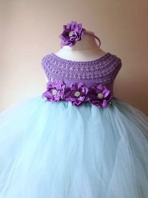 Vestido de fiesta para nina a crochet