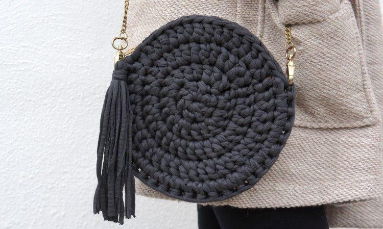 Bolso de trapillo redondo patrones gratis for Bolso crochet trapillo