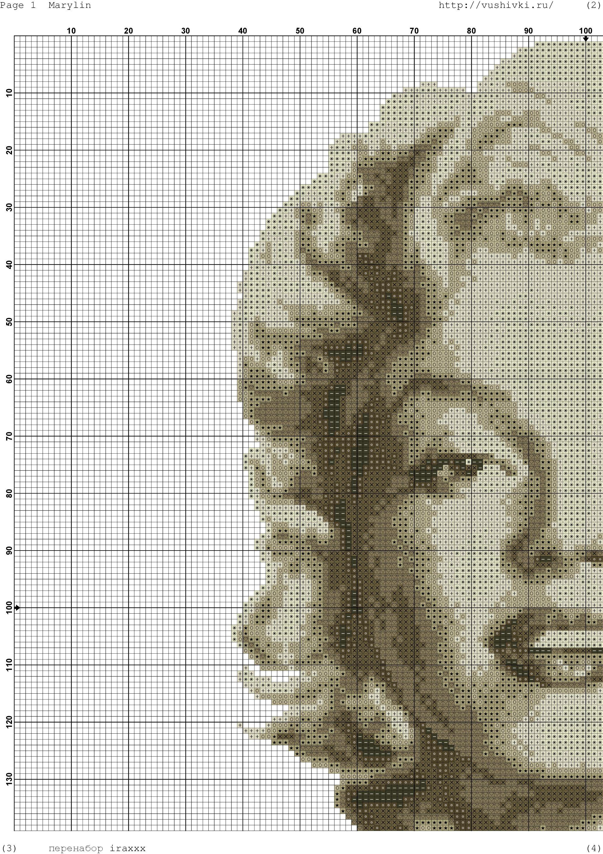 Patrón Marilyn Monroe a punto de cruz - Patrones gratis