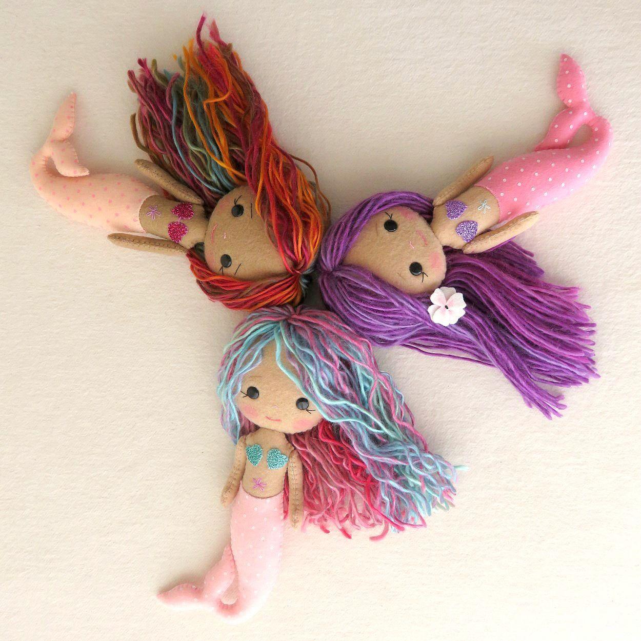 Patrón para hacer muñecas sirenas de fieltro o tela - Patrones gratis