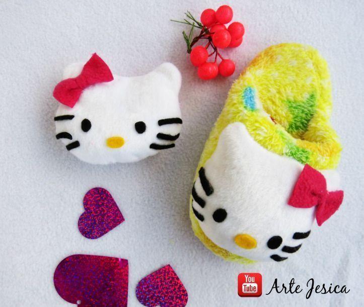 Pantuflas hello kitty con tutorial y patrones - Patrones gratis