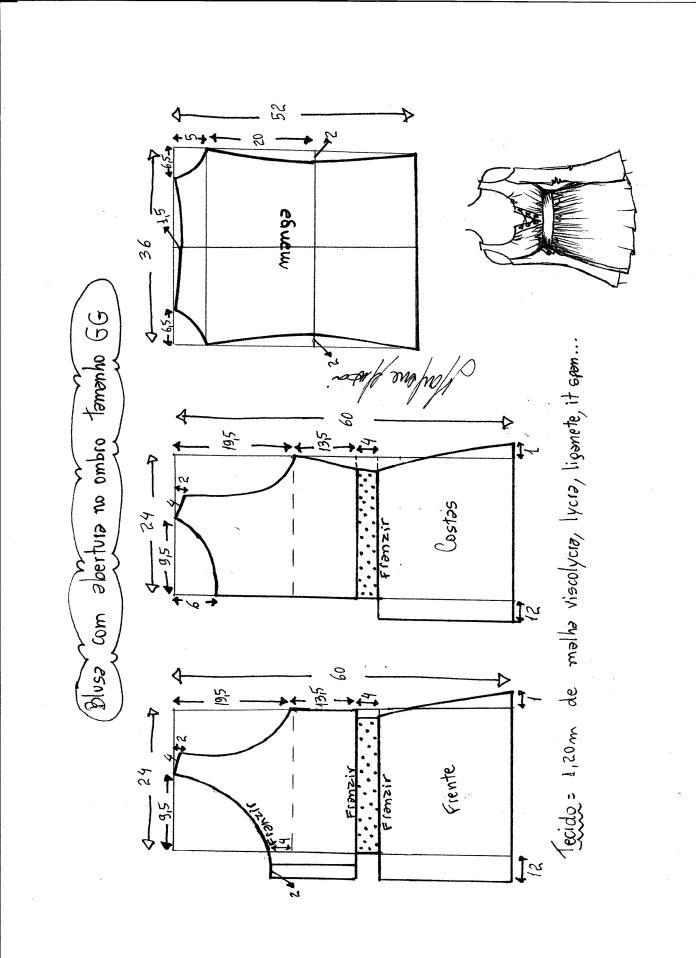 Patrón de Blusa con abertura en el hombro - Patrones gratis 0b9e9850e9dd