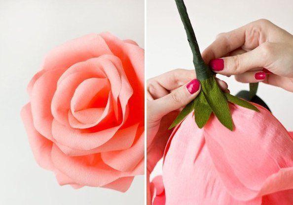 Como Hacer Rosas Gigantes Con Papel Crepe Patrones Gratis