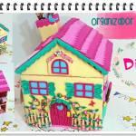 DIY Organizador de cartón con forma de casita