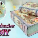 DIY Organizador de cartón en forma de libro vintage