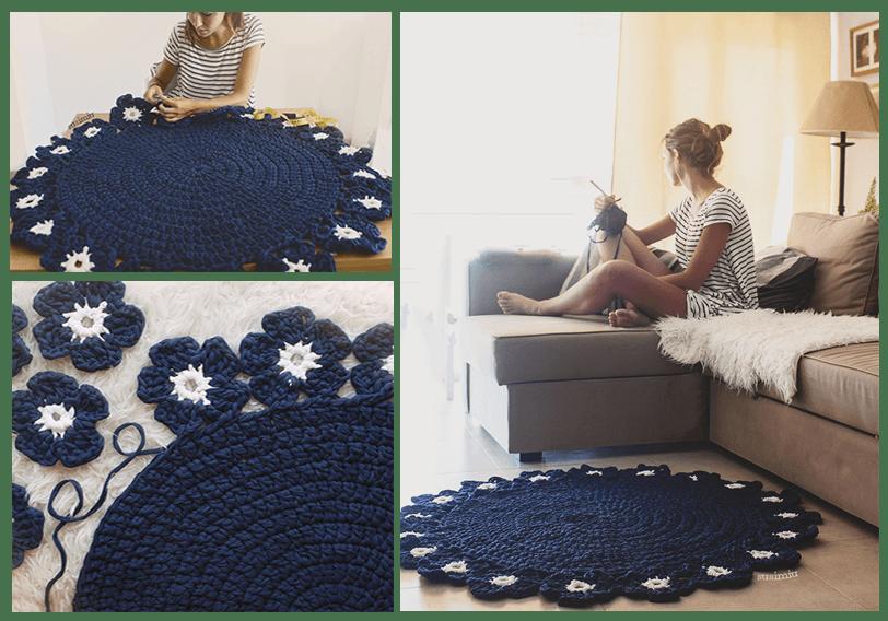 Patr n de alfombra redonda con flores a trapillo patrones gratis - Alfombra trapillo facil ...