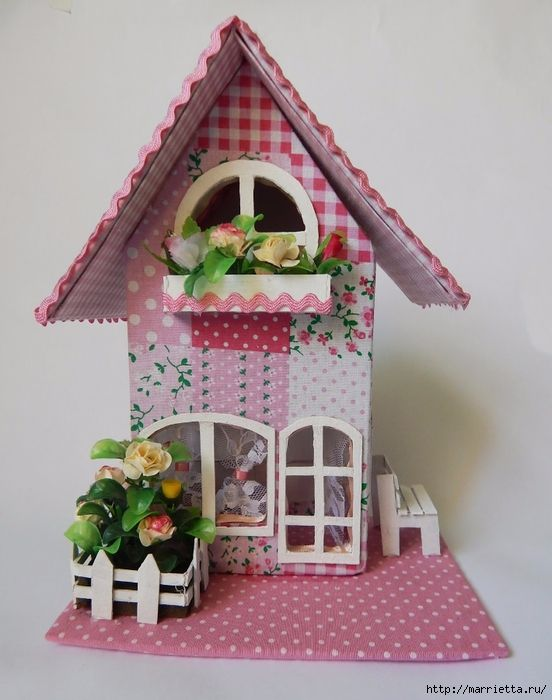 Casa de cart n decorativa con moldes patrones gratis - Como hacer una casa de carton pequena ...