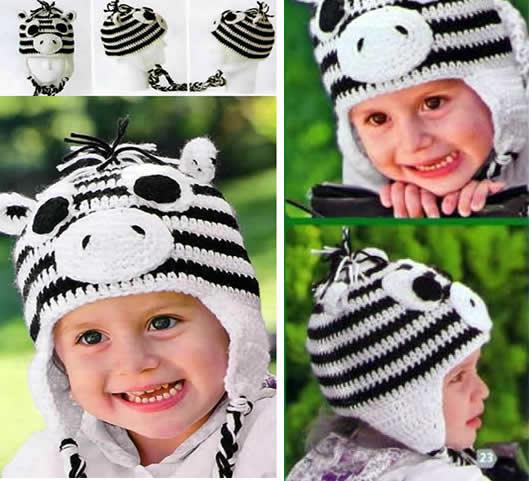 Gorro de cebra a crochet para niños - Patrones gratis