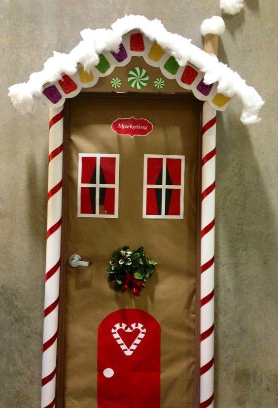 Ideas para decorar puertas en navidad patrones gratis for Ideas originales para decorar en navidad