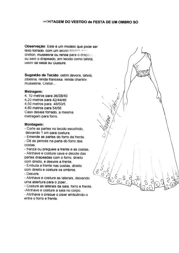 Patrón Vestido de coctel con un solo hombro - Patrones gratis