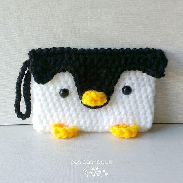 DIY monedero pinguino a crochet - Patrones gratis