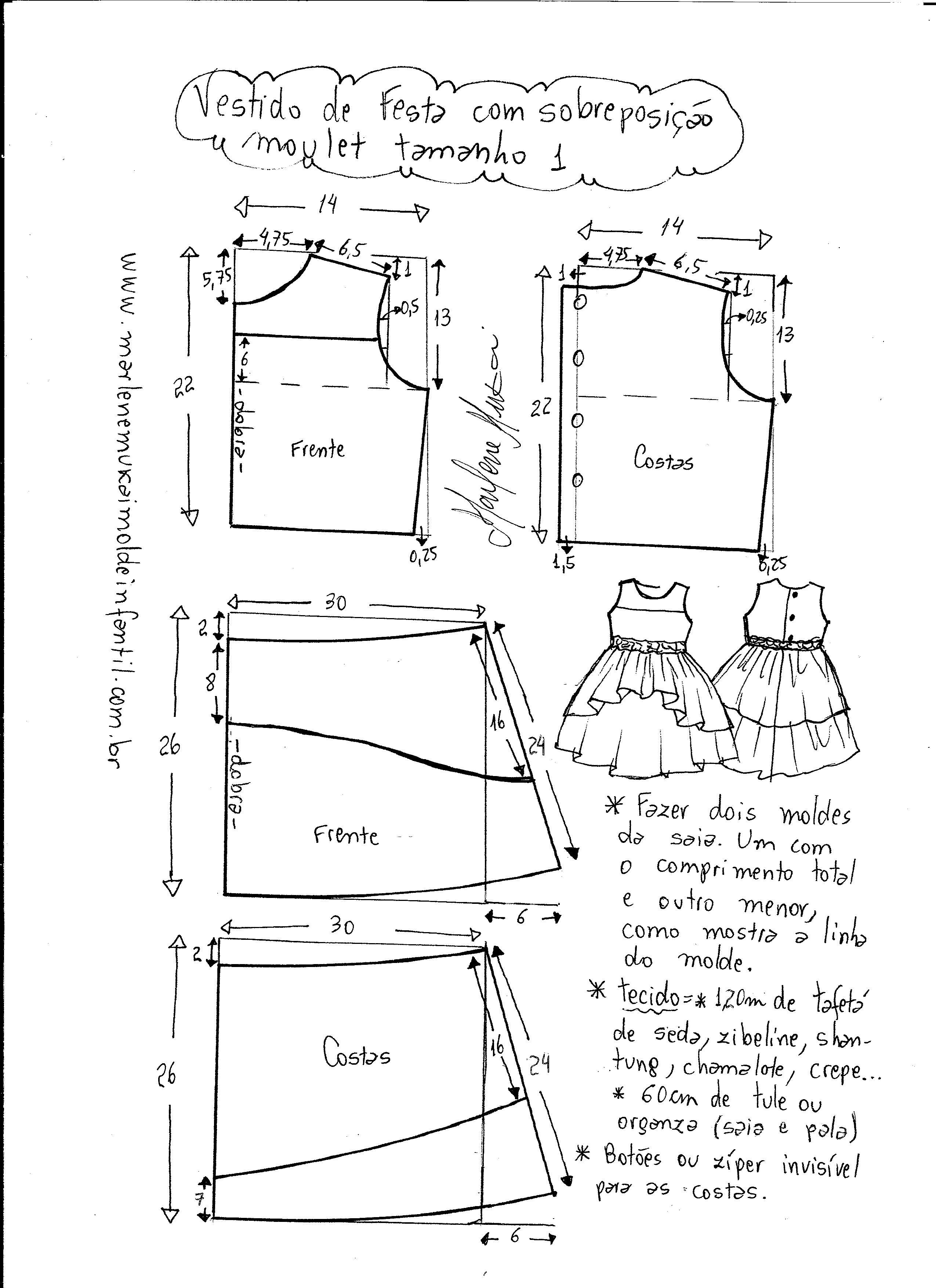75bd3ae7d8 Patrón vestido de fiesta para niñas - Patrones gratis