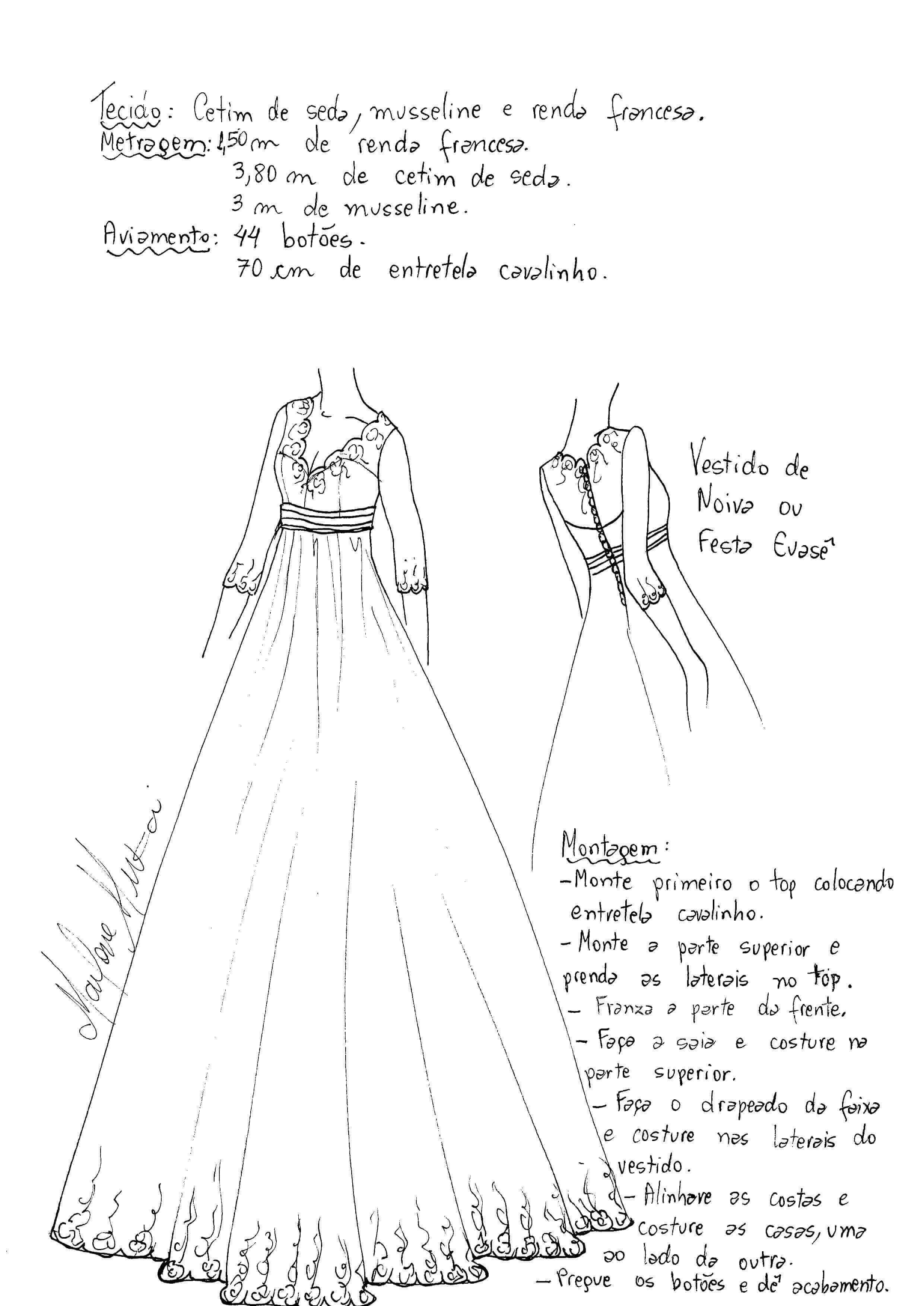 Molde de vestido largo evase