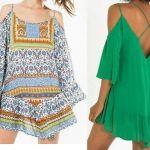 Patrón de vestido informal sin hombros y manga caída