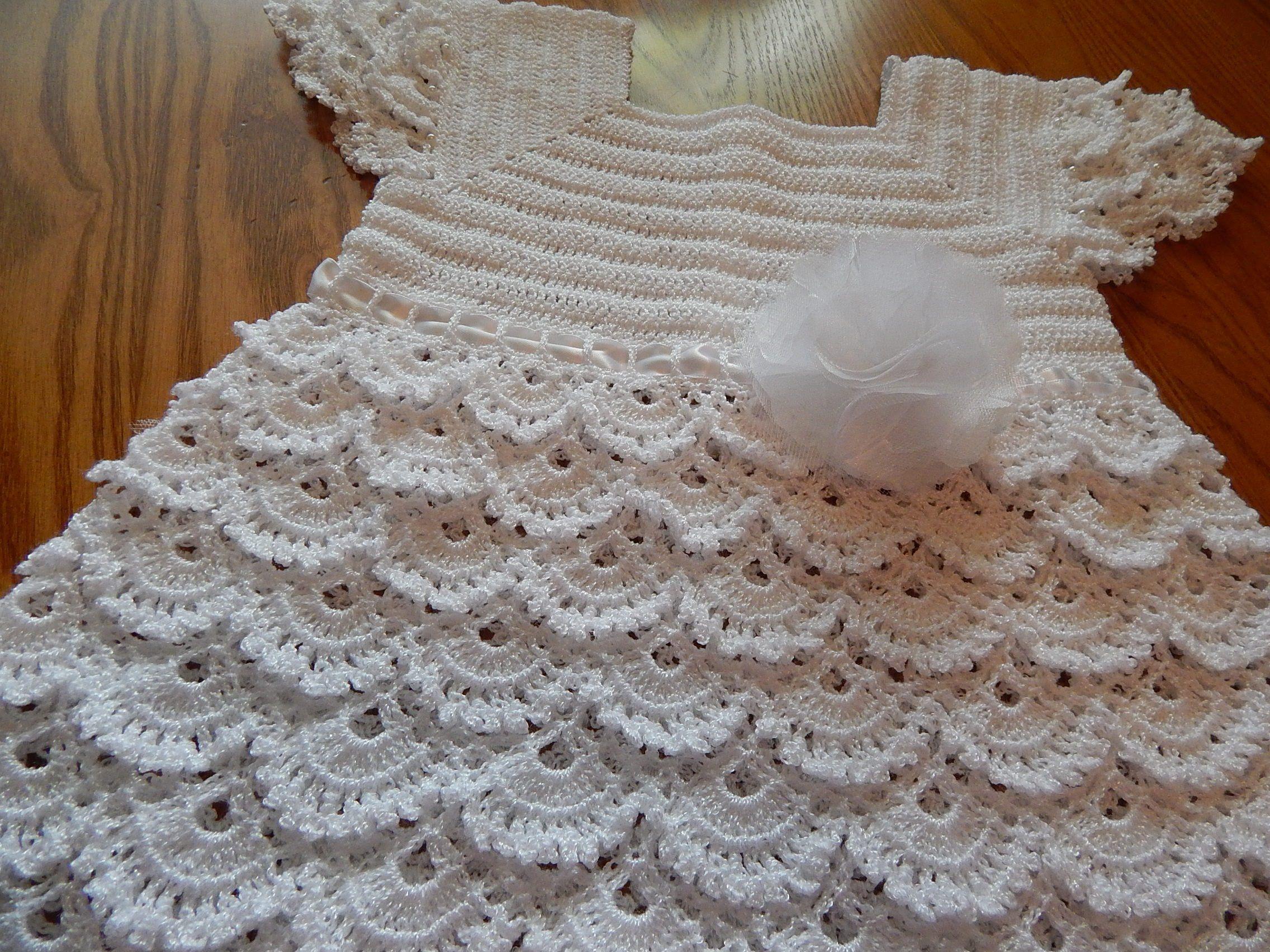 Vestido Blanco Crochet para niña - Patrones gratis
